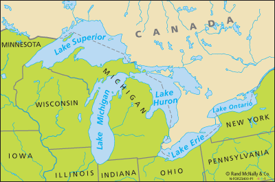 Map Of Canada 5 Great Lakes.Great Lakes United States And Canada