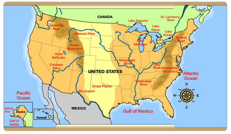 Rivers United States And Canada - Map of major rivers in us
